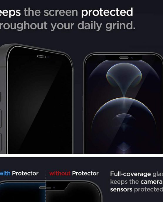 Защитное стекло Spigen Screen Protector Glas.tR EZ FIT для iPhone 12 Pro Max sensor protection